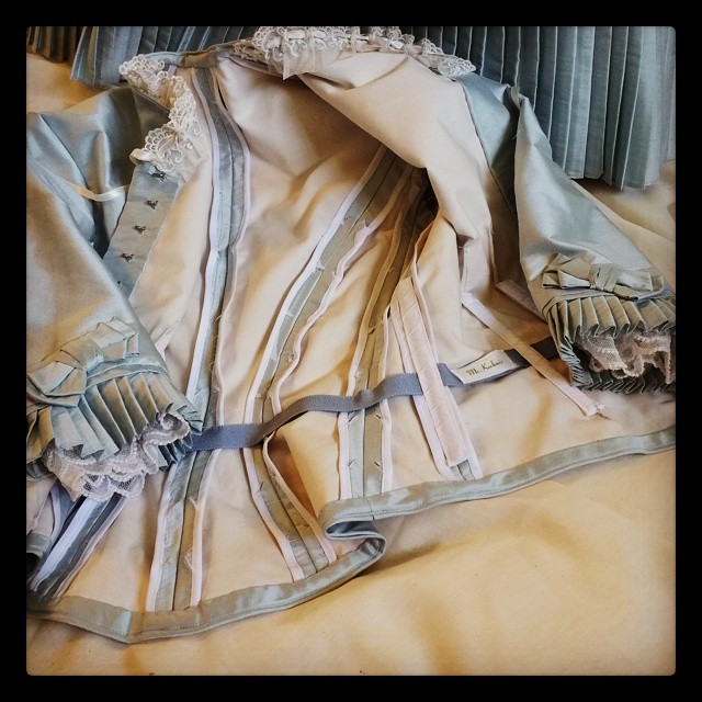 Pictured here is a view of the interior of the bodice. Note that all the seams and details have been finished.