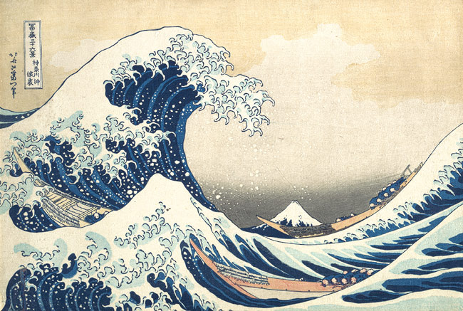 The Great Wave at Kanagawa (from a Series of Thirty-Six Views of Mount Fuji), Edo period (1615–1868), ca. 1831–33 Katsushika Hokusai (Japanese, 1760–1849); Published by Eijudo Polychrome ink and color on paper; 10 1/8 x 14 15/16 in. (25.7 x 37.9 cm) (Oban size) H. O. Havemeyer Collection, Bequest of Mrs. H. O. Havemeyer, 1929 (JP1847)