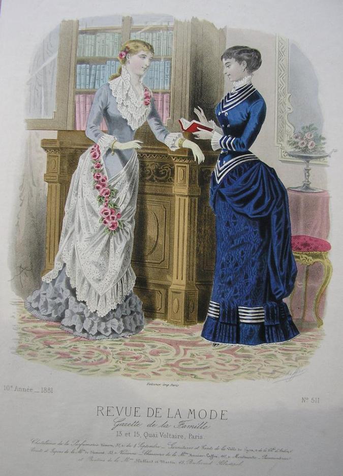 Fashion Plate, 1881 from the Revue de La Mode.