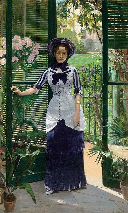 Albert Bartholomé (French, 1848–1928) In the Conservatory (Madame Bartholomé), ca. 1881 Oil on canvas; 91 3/4 x 56 1/8 in. (233 x 142.5 cm) Musée d'Orsay, Paris, Gift of the Société des Amis du Musée d'Orsay, 1990