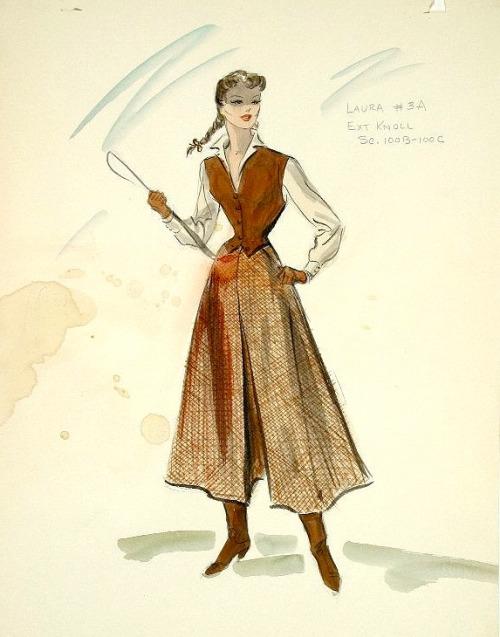 Edith Head_Costume Sketch_Gunfight_Rhonda Fleming1